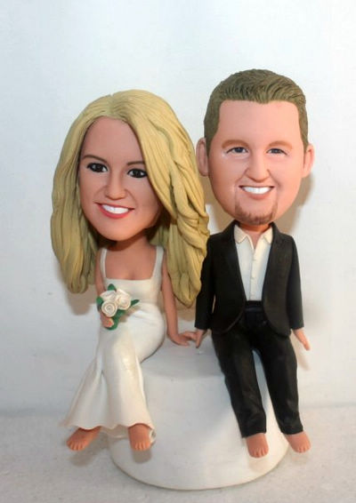 Custom Sitting on the wedding cake toppers
