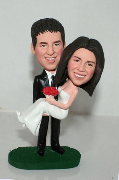 Custom Bride in groom's arms Cake Toppers