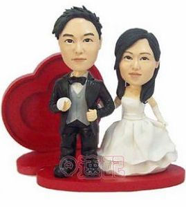 Custom Custom Wedding Cake Toppers with red heart