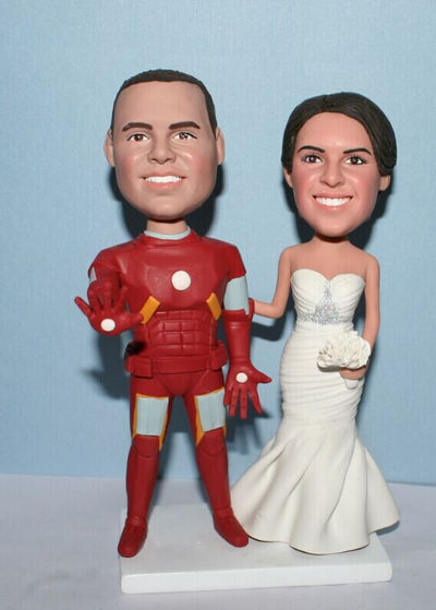 Custom Iron Man groom & birde custom wedding cake toppers