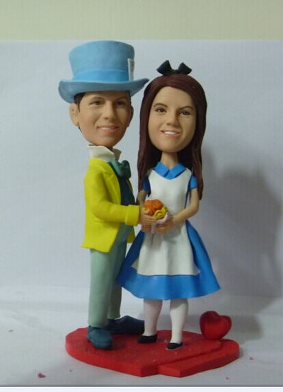 Custom Alice bride & Mad Hatter groom cake topper