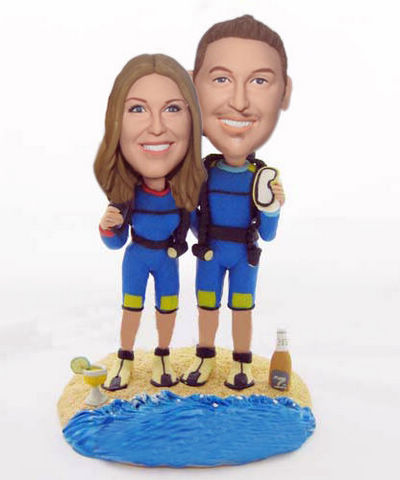 Custom Diving couple wedding cake topper
