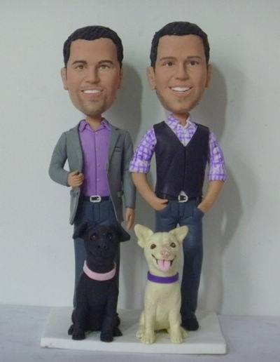 Custom Aniversary gays cake topper with dogs