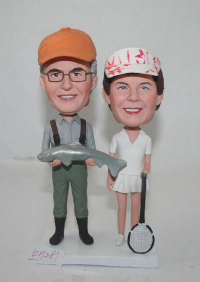 Custom Fisherman and tennis player cake topper