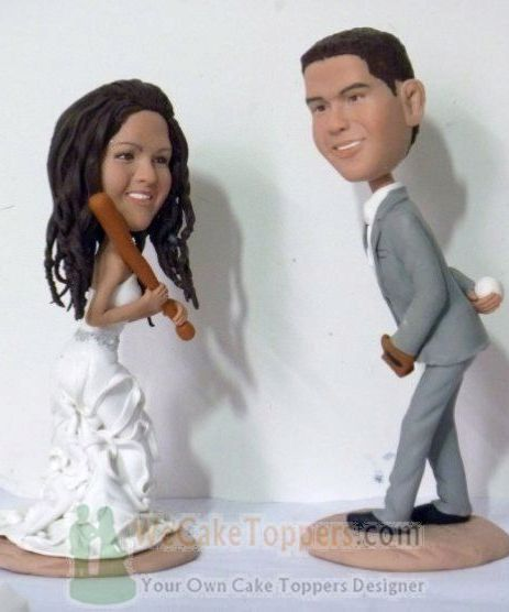Custom Playing Baseball custom wedding cake toppers