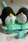 Custom Penguins clay wedding cake toppers
