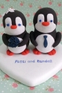 Custom Penguins wedding cake toppers