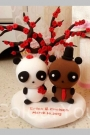 Custom Wedding cake toppers Panda bride groom