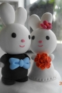 Custom Wedding cake toppers rabbit bride groom