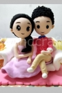 Custom Cartoon wedding cake toppers sitting