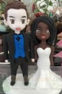 Custom Custom cartoon interracial marriage wedding cake toppers