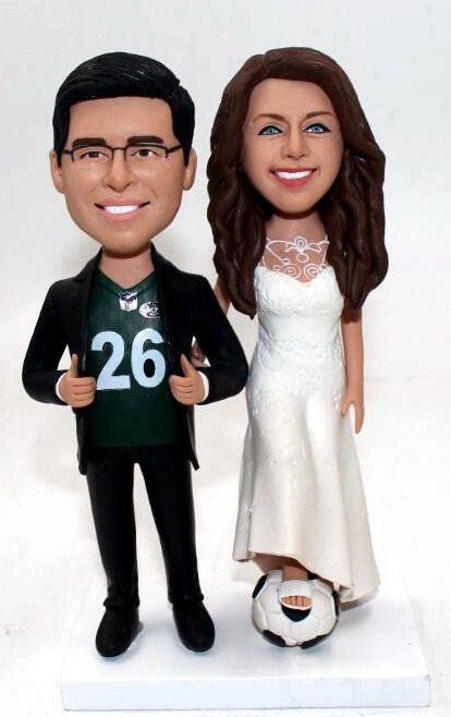 Custom Custom wedding cake toppers tall bride with football